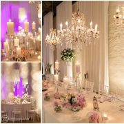 candles, chandelier, table