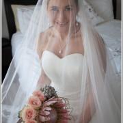 flowers, protea, veil, wedding dress