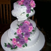 3 tier cake, cake, floral accents, three tier cake, white