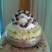 cake, chocolate, floral accents
