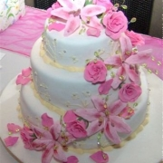 3 tier cake, floral accents, pink, three tier cake, white
