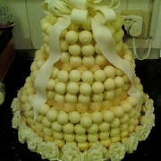 3 tier cake, chocolate balls, three tier cake, white
