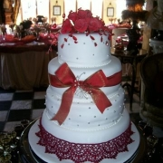 4 tier cake, four tier cake, red, white