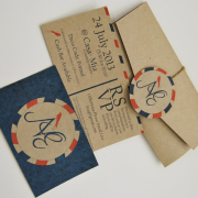 blue, brownpaper, wedding invitation, wedding stationery, red and blue