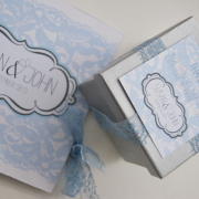 baby blue, silver, wedding favour, wedding invitation, wedding stationery