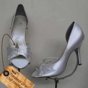 brides shoes, silver