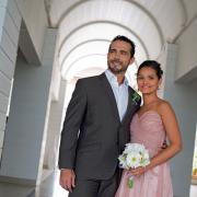 bouquet, bride and groom, suit, wedding dress