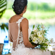bouquet, bride, dress