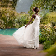 bride, dress, swimming pool