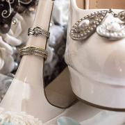 brides shoes, wedding ring, groom, wedding band