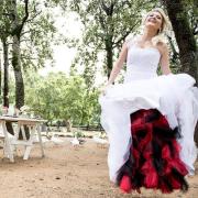 wedding dress, red