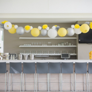decor, grey, table setting, venue, white, yellow