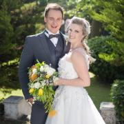 bride, groom, venue, white