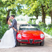 car, suit, wedding dress