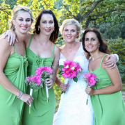 bouquet, bridesmaid dress, makeup