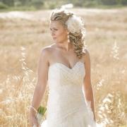 bouquet, bracelet, earrings, hair styles, headpiece, wedding dress