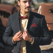 bow tie, leather