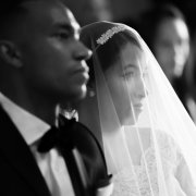veil, black and white, bride and groom