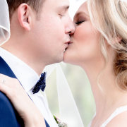 bride and groom, makeup, first kiss