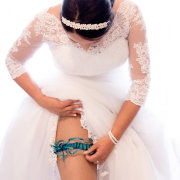 garter, headpiece, lace, wedding dress, blue