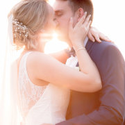 bride and groom, veil, hairstyle, first kiss