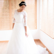 wedding dress, headpiece, lace