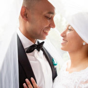 bride and groom, tie, veil