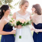 bouquet, wedding dress, bridesmaids dresses, navy blue