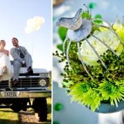bride & groom, flowers