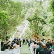 aisle, outdoor ceremony, waterfall