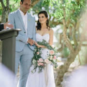 bouquet, bride and groom, powder blue, wedding dress