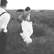 black and white, countryside, wedding dress