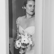 black and white, bouquet, wedding dress
