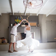 bride and groom, chandelier, wedding dress