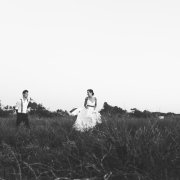 black and white, bride and groom, countryside