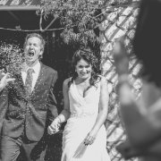 black and white, bride and groom, confetti