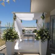 beach, flowers, gazebo