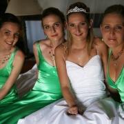 bridesmaid dress, tiara