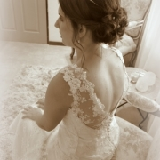 hairstyle, wedding dress