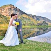 bouquet, mountain, suit, wedding dress