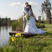 bouquet, wedding dress, dam