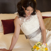 bouquet, hairstyle, wedding dress