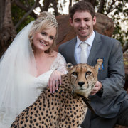 bride and groom, safari, veil
