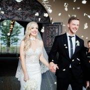 confetti, suit, veil, wedding dress