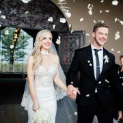 confetti, suit, veil, wedding dress