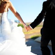 bride and groom, wedding dress