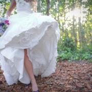 bouquet, blue, wedding dress