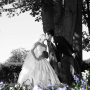 black and white, bride and groom, wedding dress