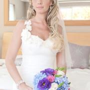 bouquet, hairstyle, blue, jewellery, purple, wedding dress, hydrangeas