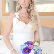 bouquet, hairstyle, blue, jewellery, purple, wedding dress, hydrangeas
